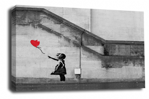Banksy Art Red Balloon Girl Wall Canvas Peace Love Picture